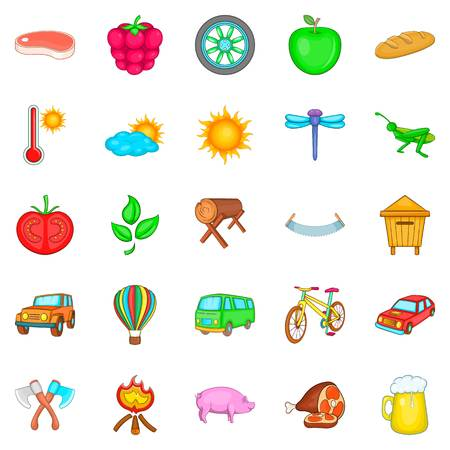 Vacation home icons set, cartoon style Illustration