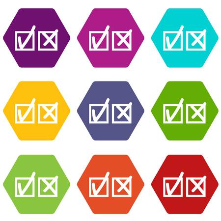 Checkmark to accept and refusal icon set color hexahedron Illustration