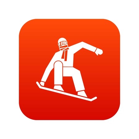 Snowboarder icon digital red