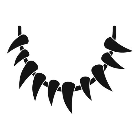 Tooth necklace icon, simple style Illustration