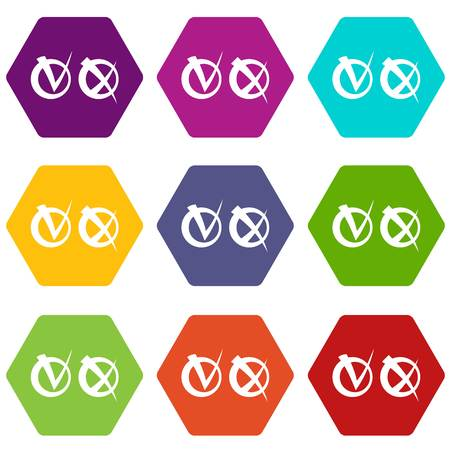 Tick and cross in circles icon set color hexahedron