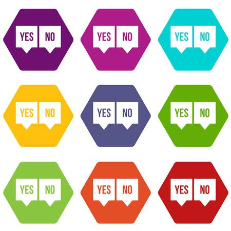 Signs of yes and no icon set color hexahedron