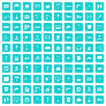 100 construction icons set grunge blue