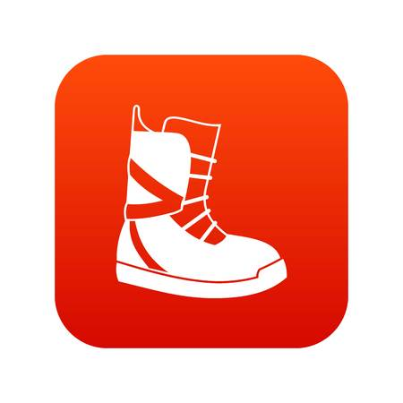 Boot for snowboarding icon digital red Illustration
