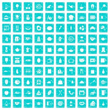 100 cooking icons set grunge blue
