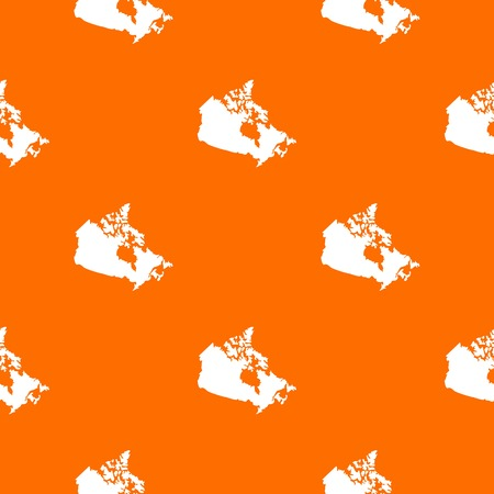 Canada map pattern repeat seamless in orange color for any design. Vector geometric illustration