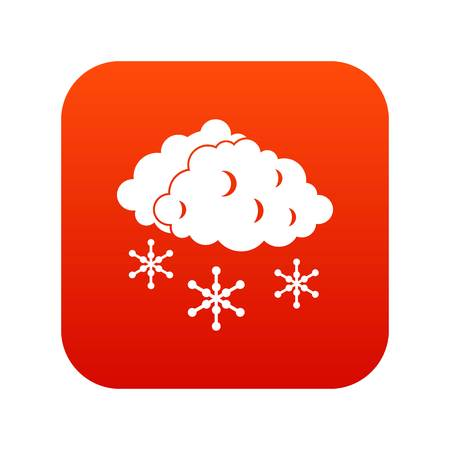 sleet: Clouds and snow icon digital red