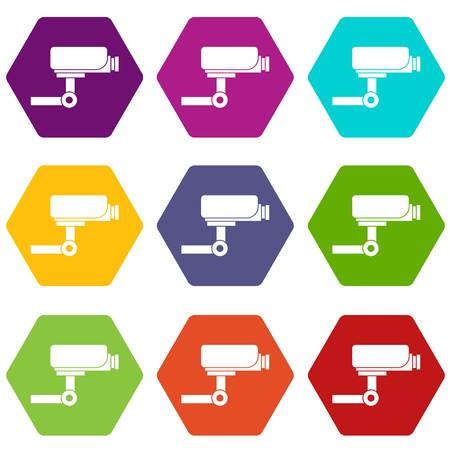 CCTV camera icon set many color hexahedron isolated on white vector illustration