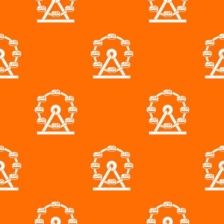 Giant ferris wheel pattern repeat seamless in orange color for any design. Vector geometric illustration Illustration