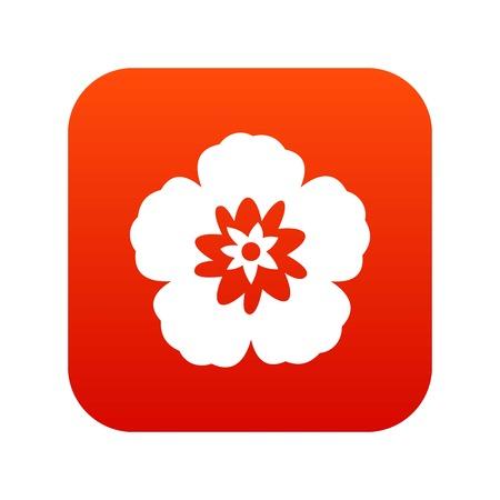 Rose of Sharon, korean flower icon digital red Illustration