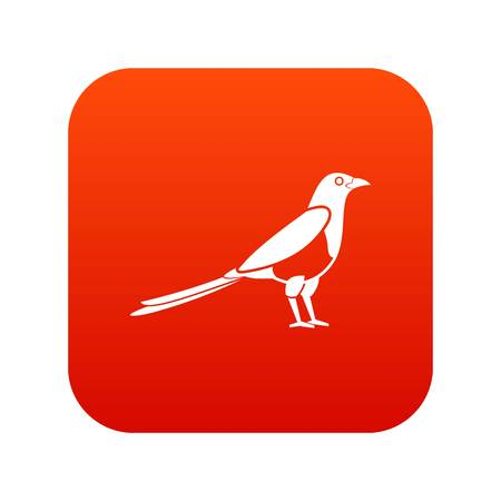 Bird magpie icon digital red for any design isolated on white vector illustration