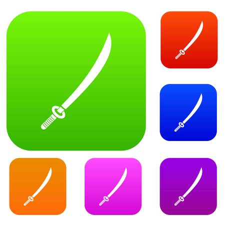 Katana set icon color in flat style isolated on white. Collection sings vector illustration