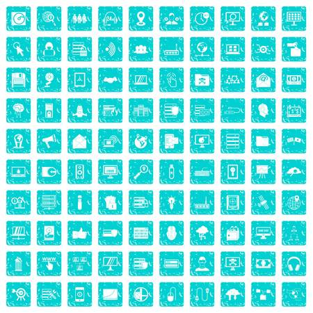 100 cyber security icons set in grunge style blue color isolated on white background vector illustration Ilustração