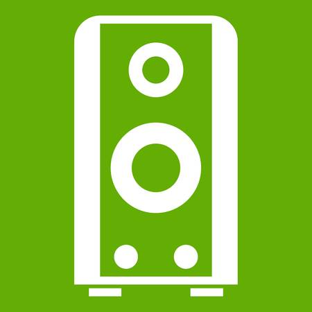 Black sound speaker icon white isolated on green background. Vector illustration Illustration