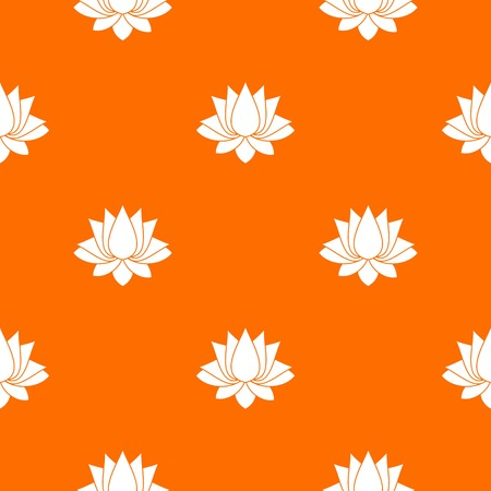 Lotus pattern repeat seamless in orange color for any design. Vector geometric illustration