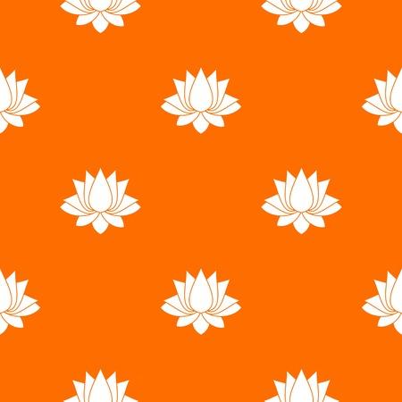 Wzór lotosu powtarzaj się bez szwu w kolorze pomarańczowym dla każdego projektu. Geometryczna ilustracja wektorowa