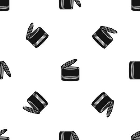 tincan: Open tin can pattern repeat seamless in black color for any design. Vector geometric illustration