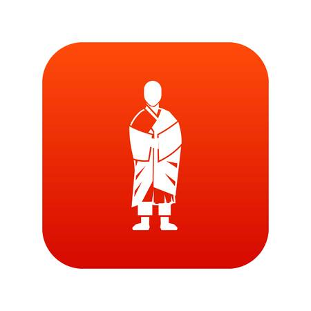 Buddhist monk icon digital red for any design isolated on white vector illustration