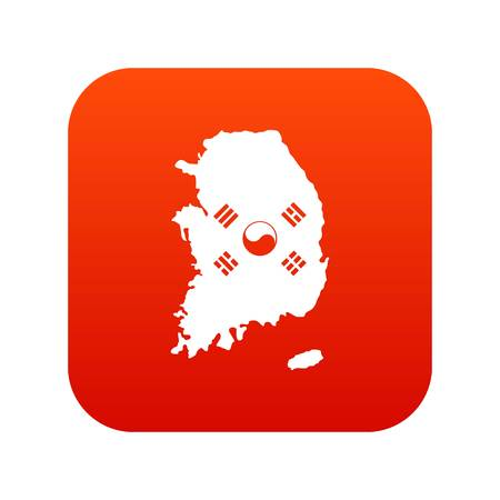 South Korea map with national flag icon digital red for any design isolated on white vector illustration