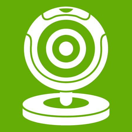 Webcam icon white isolated on green background. Vector illustration