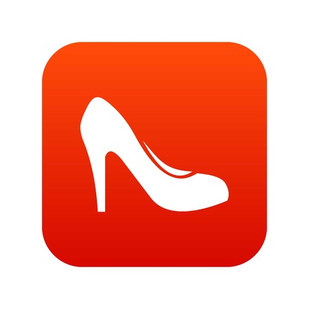 Women shoe with heels icon digital red for any design isolated on white vector illustration