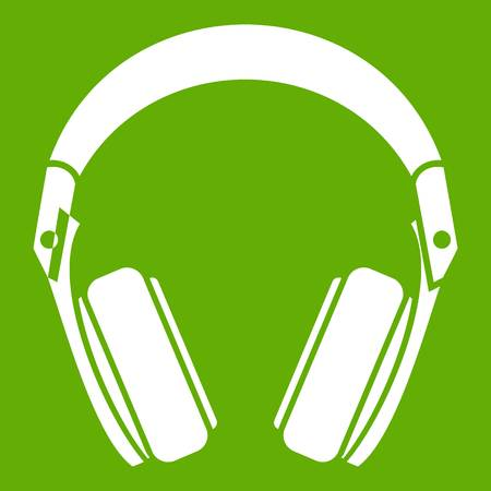 Headphones icon white isolated on green background. Vector illustration Illustration