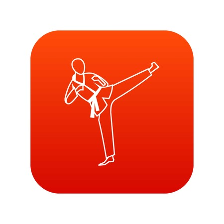 Wushu master icon digital red for any design isolated on white vector illustration Illustration