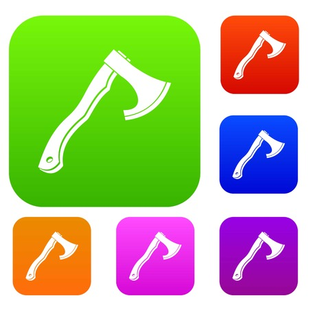 Hatchet set icon color in flat style isolated on white. Collection sings vector illustration