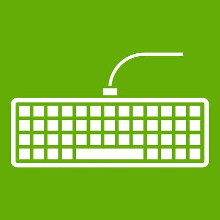 Black computer keyboard icon white isolated on green background. Vector illustration Illustration