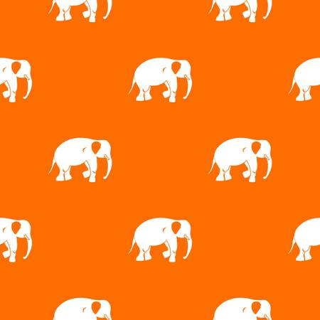 Elephant pattern repeat seamless in orange color for any design. Vector geometric illustration