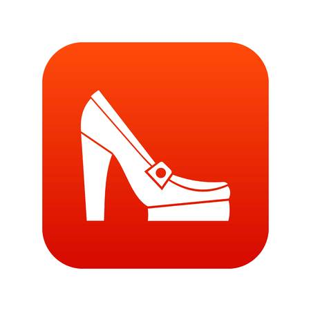 5261a01d4895 Women shoes on platform icon digital red for any design isolated on white  vector illustration