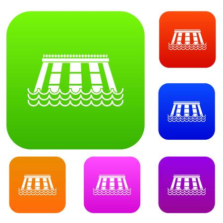 Hydroelectric power station set icon color in flat style isolated on white. Collection sings vector illustration