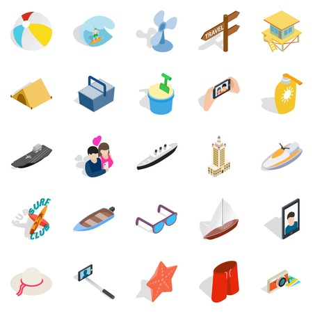 Beach activity icons set. Isometric set of 25 beach activity vector icons for web isolated on white background