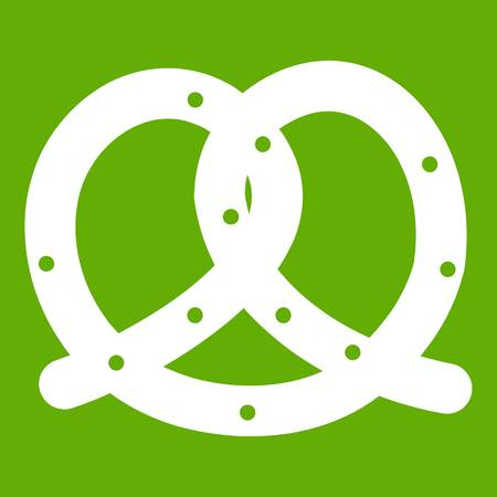 Pretzel icon white isolated on green background. Vector illustration