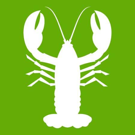 Crayfish icon white isolated on green background. Vector illustration