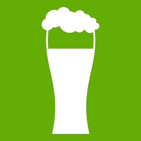 Glass of beer icon white isolated on green background. Vector illustration
