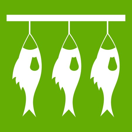 Three dried fish hanging on a rope icon white isolated on green background. Vector illustration Illustration
