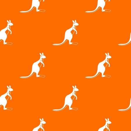 Kangaroo pattern repeat seamless in orange color for any design. Vector geometric illustration Illustration