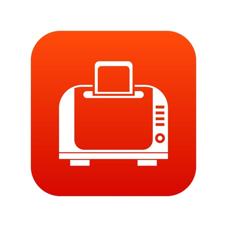 Toaster icon digital red for any design isolated on white vector illustration