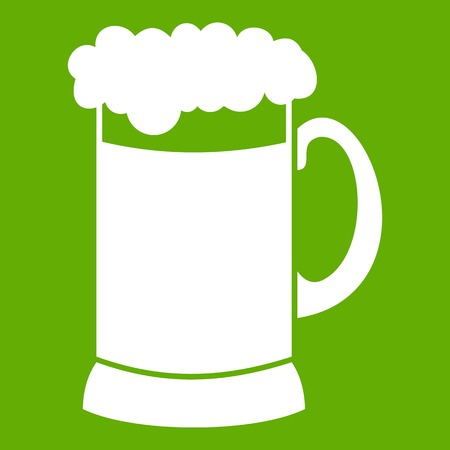 Mug of dark beer icon white isolated on green background. Vector illustration Illustration