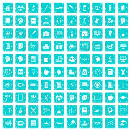 100 education icons set grunge blue
