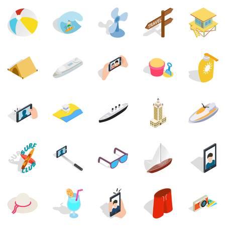Island vacation icons set. Isometric set of 25 island vacation vector icons for web isolated on white background Illustration