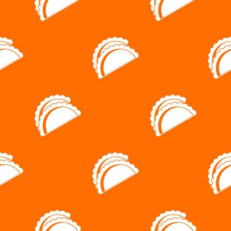 Empanadas de pollo pattern repeat seamless in orange color for any design. Vector geometric illustration