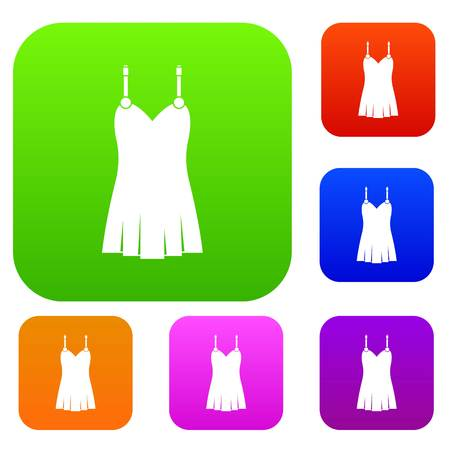 Nightdress set icon color in flat style isolated on white. Collection sings vector illustration Imagens - 88427626