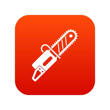 Chainsaw icon digital red for any design isolated on white vector illustration