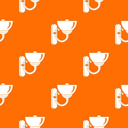 Wall lamp pattern repeat seamless in orange color for any design. Vector geometric illustration Illustration