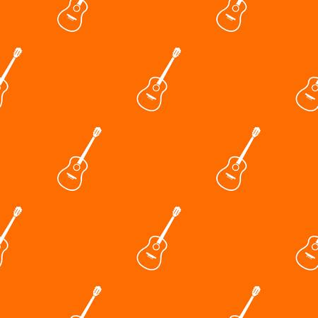 Charango pattern repeat seamless in orange color for any design. Vector geometric illustration