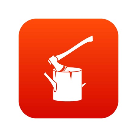 bark: Axe stuck in a tree stump icon digital red for any design isolated on white vector illustration