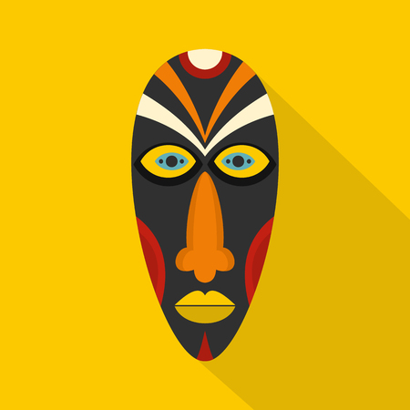 African mask icon. Flat illustration of african mask vector icon for web Illustration