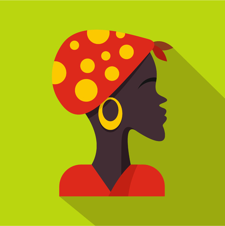 African woman icon, flat style